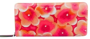 Marc by Marc Jacobs Marc By Marc Jacobs Pink Floral And Yellow Leather Wallet New