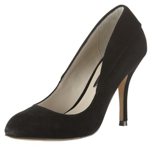 Steven by Steve Madden Suede Crescent Toe Single Sole Layered Detail Heel Black Pumps