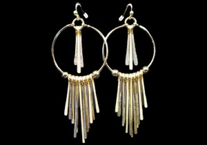 TEXTURED STICKS DANGLE EARRINGS