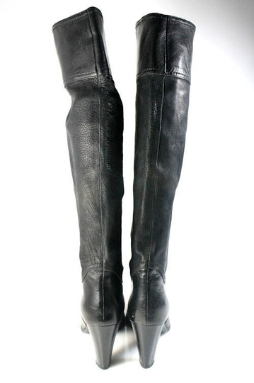 EUROSUOLE Leather Knee High Sexy Black Boots