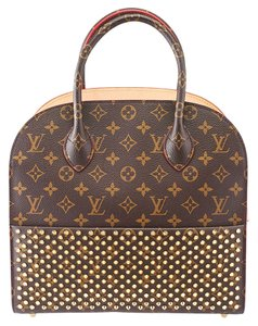 Louis Vuitton Lv Spikes Iconoclasts Louboutin Monogram Tote in Brown & Red