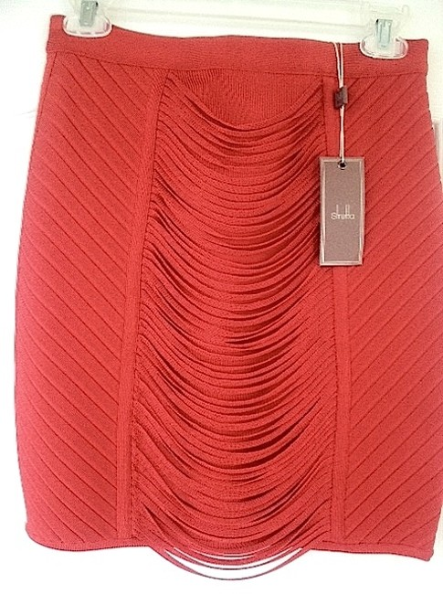 Stretta Draped Fringe Date Night Pencil Bodycon Figure-flattering Flirty Sexy Tassel Fitted Night Out Mini Hot Bandage Tiered Mini Skirt Red
