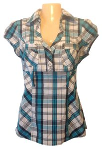 HeartSoul Womens Petite Medium Small Fitted Form Fitted Tight Tight Fit Curvy Plaid Blue Gray Grey Black White Teal Green Western Tunic