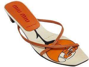 Miu Miu Leather Heels Orange Sandals