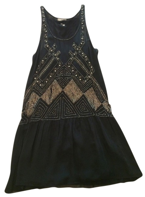 Joie Black Silver Beaded Mid-length Cocktail Dress Size 0 (XS) Joie Black Silver Beaded Mid-length Cocktail Dress Size 0 (XS) Image 1
