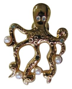 OTHER GOLD OCTOPUS PIN WITH STONES