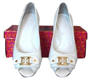 Tory Burch Emma Demi Open Toe White Wedges