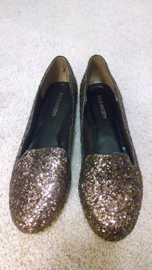Sole Society Cute Casual Chestnut Glitter Flats