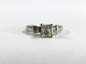 Platinum Square Cut Diamond Ring