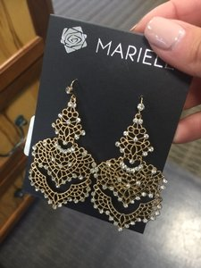 Mariell Chandelier Sparkly Gold Earrings