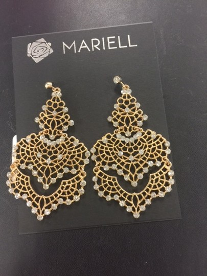 Mariell Gold and Crystal Chandelier Sparkly Earrings