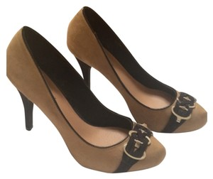 JustFab Tan suede with black leather trim Platforms
