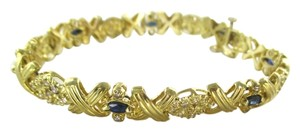Other 14KT SOLID YELLOW BRACELET BANGLE SAPPHIRE 74 GENUINE DIAMONDS 15.8 GRAMS 7 INCH