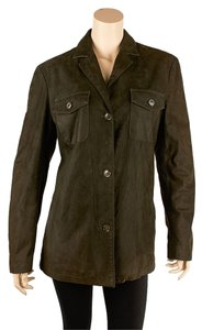 Luciano Barbera Mens Casual Green Leather Jacket