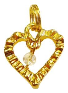 St. John NEW ST. JOHN KNITS REPLACEMENT HEART ZIPPER PULL CHARM GOLD SMALL CRYSTAL 22k