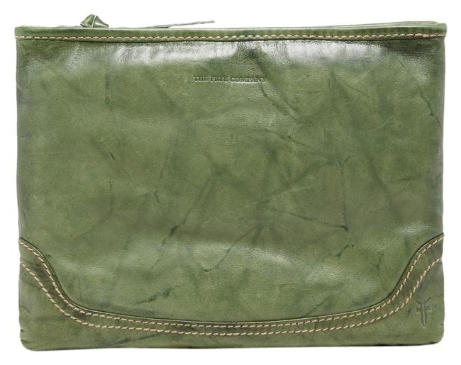 Item - New Campus Zip Pouch Olive Green Leather Clutch