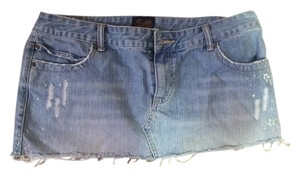 Aropostale Painted Denim Mini Skirt Light denim