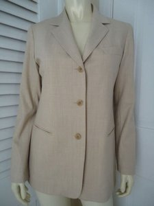 Lafayette 148 New York Lafayette 148 Ny Blazer Wo Tag Wool Silk Stretch Blend Beige Gray Chic
