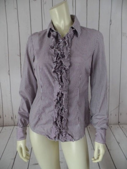 Preload https://img-static.tradesy.com/item/7119115/tommy-hilfiger-blouse-top-purple-cotton-pinstripe-button-front-ruffle-so-chic-0-0-650-650.jpg