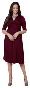 Kiyonna Wine Full-figure Knee-length Jersey Knit Empire Waist Dress