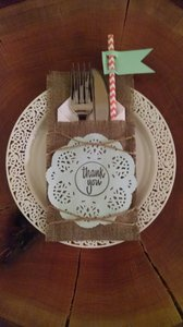 Faux Burlap Fabric Utensil Sleeves With Mint Doilies