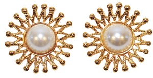 St. John ST. JOHN VINTAGE EARRINGS CLIP-ON FAUX PEARL & 22K GOLD PLATED SIGNED NWOT