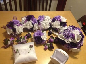 Purple Bouquets Boutonnieres And Corsages