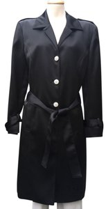 St. John St. John Evening Collection Black Satin Belted Coat Duster Adorned with Swarovski Crystals