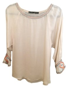 Zara Bead Aztec Top Beige, cream