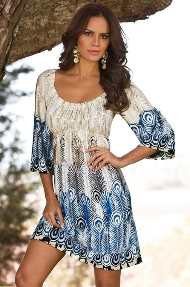 Ivory Brown And Blue Muse Boho Peasant