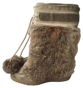 Coach Rabbit Fur Brown Boots
