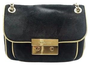 Michael Kors Suede Fabric Golden Chain Shoulder Bag