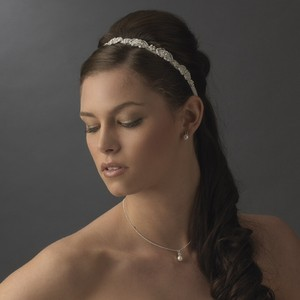 Elegant White Rhinestone Wedding Bridal Ribbon Headband