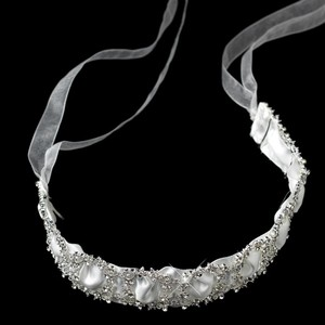 Sparkling Rhinestone Circle Wedding Bridal Ribbon Heafband