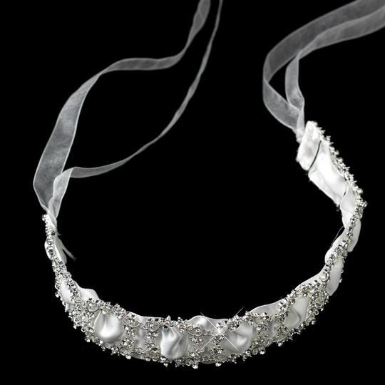 Ivory Sparkling Rhinestone Circle Ribbon Heafband Hair Accessory