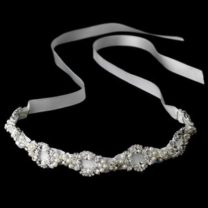 Elegant Pearl & Swarovski Crystal Wedding Bridal Ribbon Headband