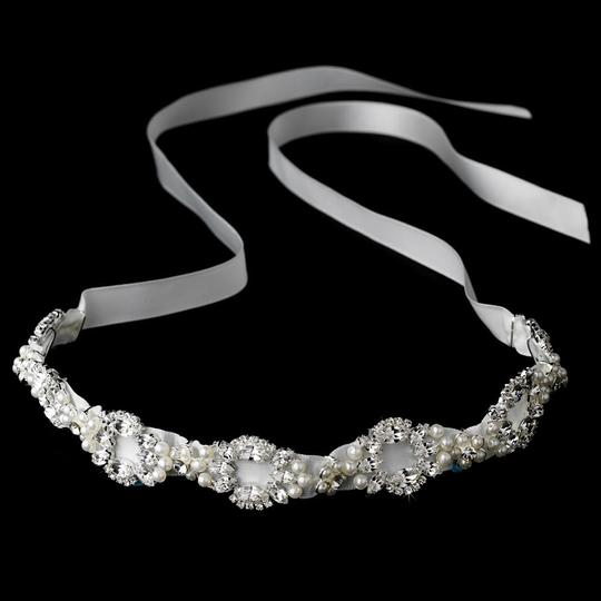 White Elegant Pearl Swarovski Crystal Ribbon Headband Hair Accessory