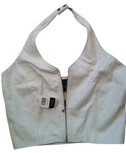 Tommy Hilfiger Leather New Sexy Biker Summer Spring Casual Club White Halter Top