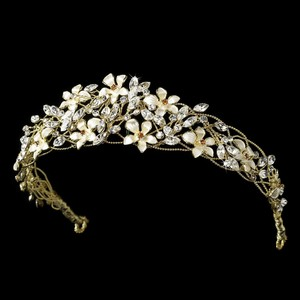 Exquisite Gold Floral Wedding Bridal Headband Tiara