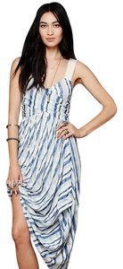 Blue White Maxi Dress by Free People Wrap Romantic Ocean Beach