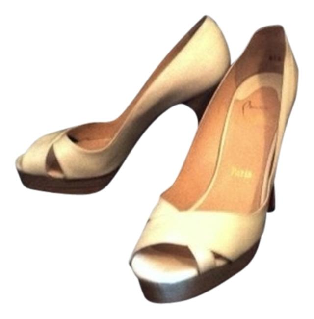 Item - White Natural Light Wood Red Bbottoms Limited Edition Open Toe Wooden Privs Pumps Size US 9.5 Regular (M, B)