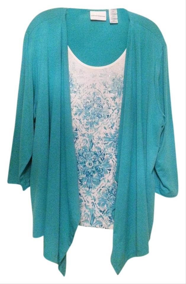 Alfred dunner blouse teal white 34 off tops tradesy for Alfred dunner wedding dresses