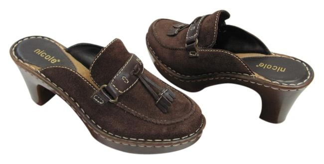 Nicole Brown Very Good Condition Leather M Mules/Slides Size US 6 Regular (M, B) Nicole Brown Very Good Condition Leather M Mules/Slides Size US 6 Regular (M, B) Image 1