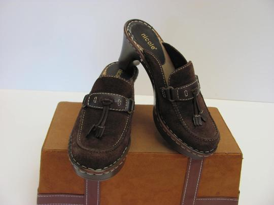 Nicole Very Good Condition Leather Size 6.00 M Brown Mules Image 1