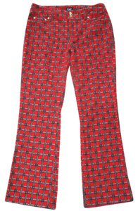 Dolce&Gabbana Designer Soft Grey Monogram Like New Flare Pants red