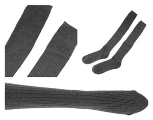 Silver Forest Ribbed Knit over the knee socks- Black