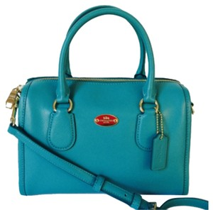 Coach Crossgrain Leather Blue Handbag Satchel in Cadet Blue