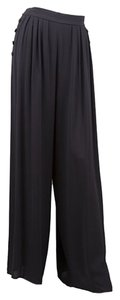 Chanel Silk Wide Leg Pants Black