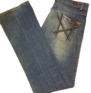 7 For All Mankind Studded Vintage Mia Straight Leg Jeans-Light Wash