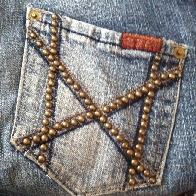 7 For All Mankind Studded Vintage Mia Seven Boot Straight Leg Jeans-Light Wash